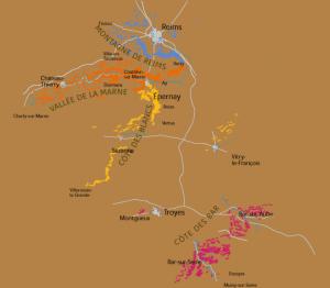 Die Rebflächen der Champagne verteilen sich auf 4 Regionen